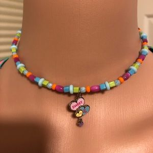 IntenCity Girl's  Beaded Choker Heart Charm